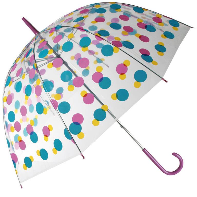 Dámský deštník průhledný s barevnými puntíky