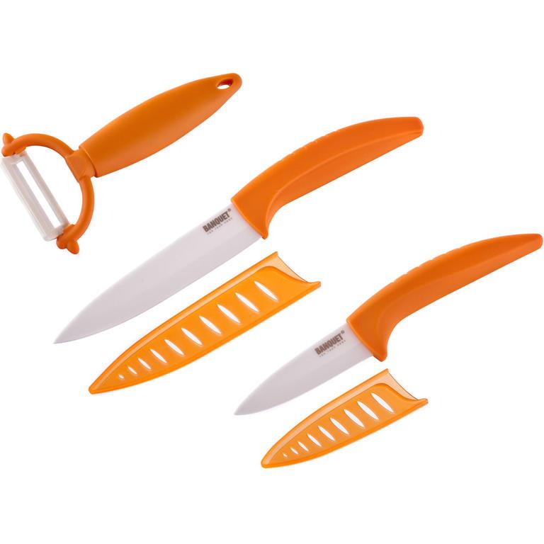 BANQUET 3dílná sada keramických nožů GOURMET CERAMIA ARANCIA