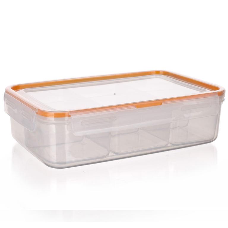 Obdélníková dóza na potraviny Super Click oranžová, BANQUET 2,1 l - 1