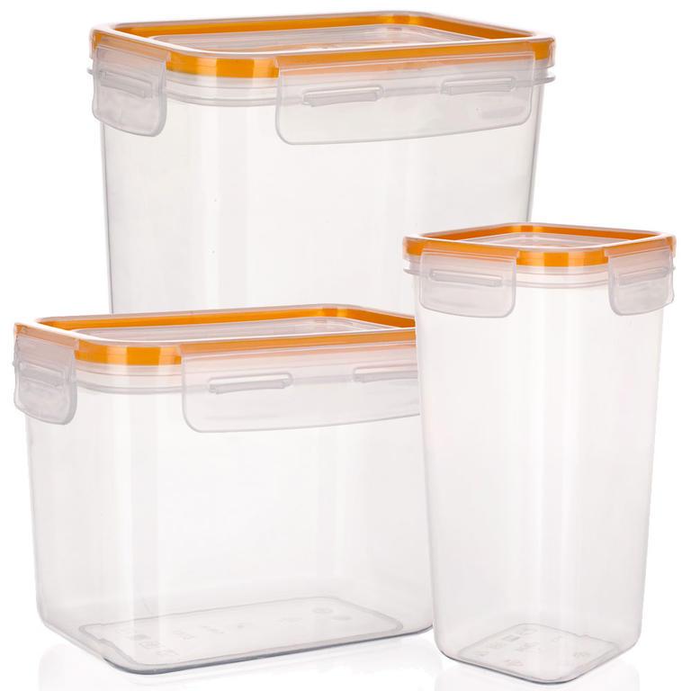 Plastová dóza na potraviny Super Click oranžová, BANQUET  - 1