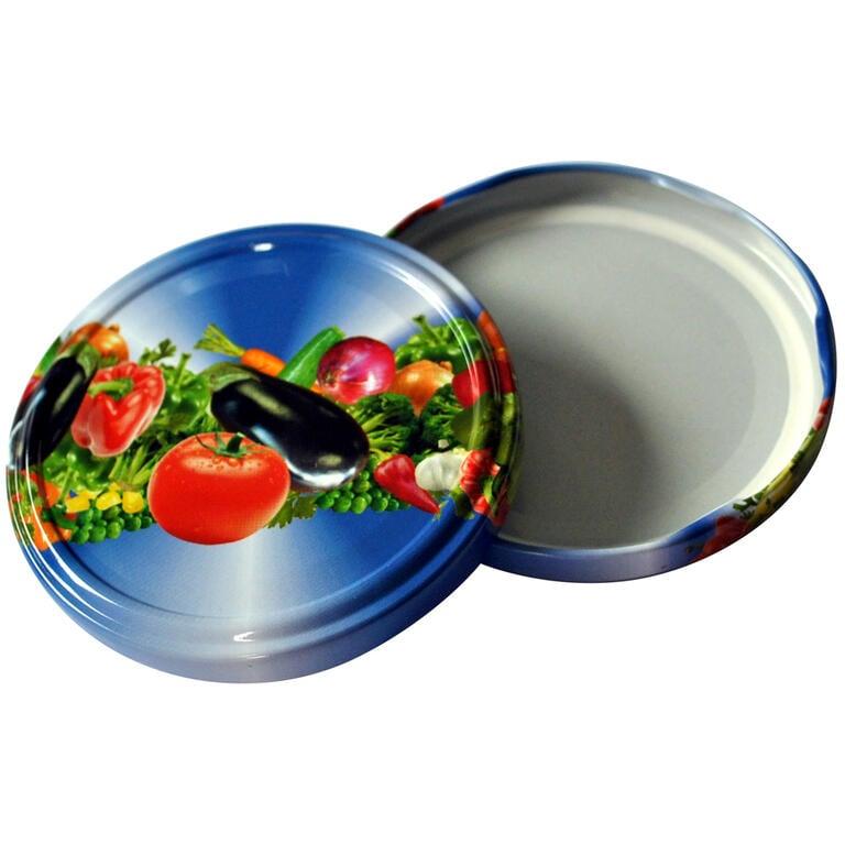 Šroubovací víčka na zavařovací sklenice 10 ks zelenina  - 1