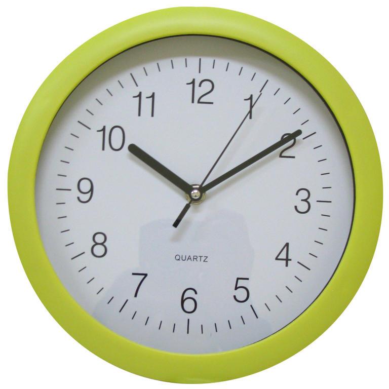 Nástěnné hodiny kulaté žlutozelené