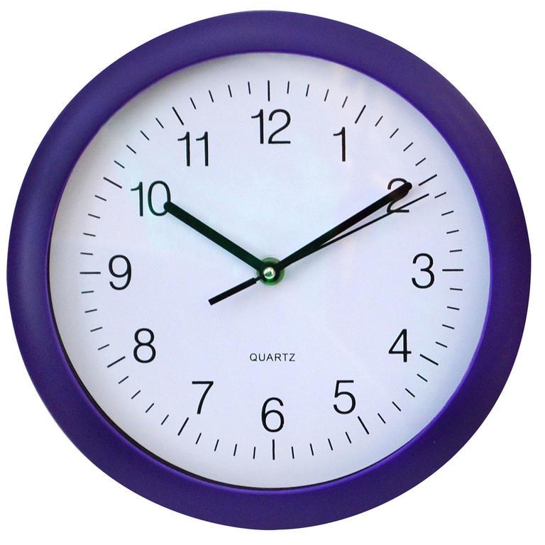Nástěnné hodiny kulaté fialové
