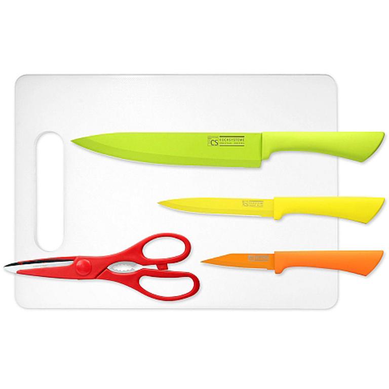 Nepřilnavé kuchyňské nože s prkénkem GOOD4U 5 ks  - 1