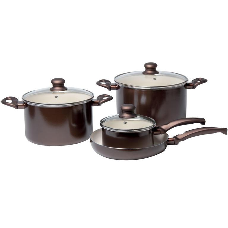 Hliníkové nádobí 7 dílů hnědé