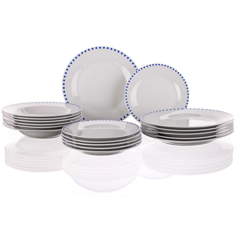Porcelánová sada talířů Cubito Blue 18 dílů, BANQUET
