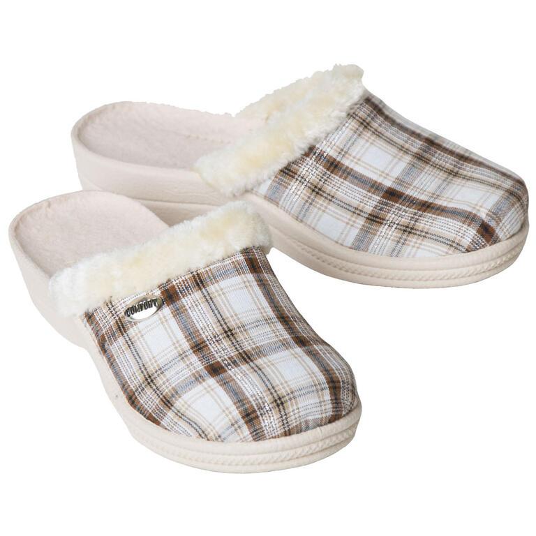 Dámské domácí pantofle s kožíškem kostkované