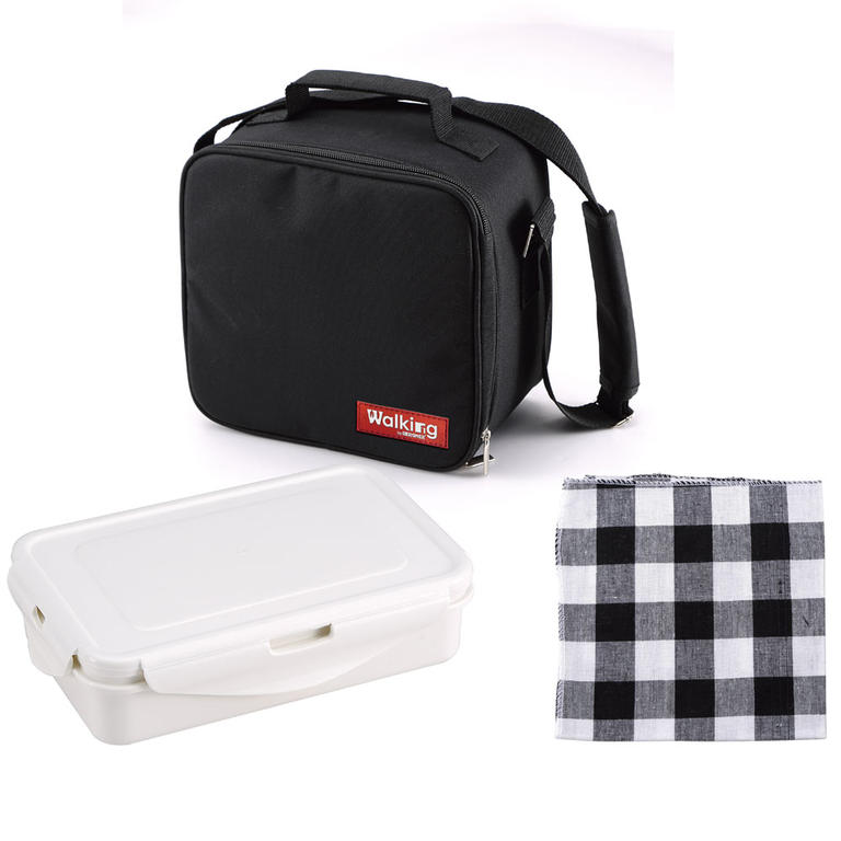 Svačinový box v tašce černá utěrka - 1
