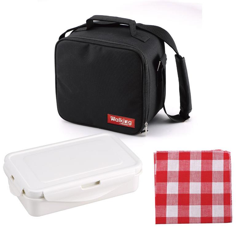 Svačinový box v tašce červená utěrka - 1