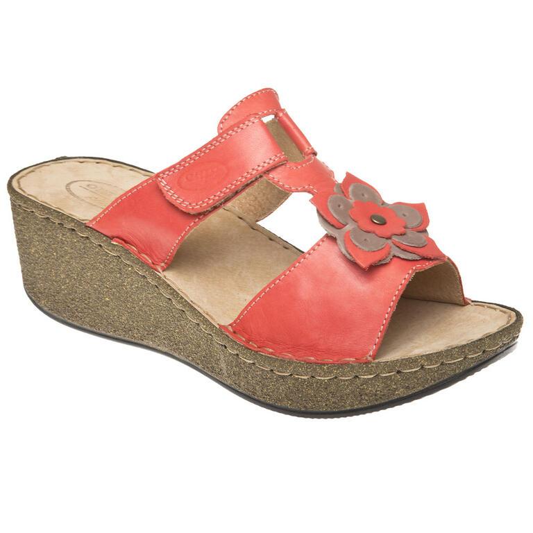 Dámské pantofle na klínku s kytkou červené vel. 40