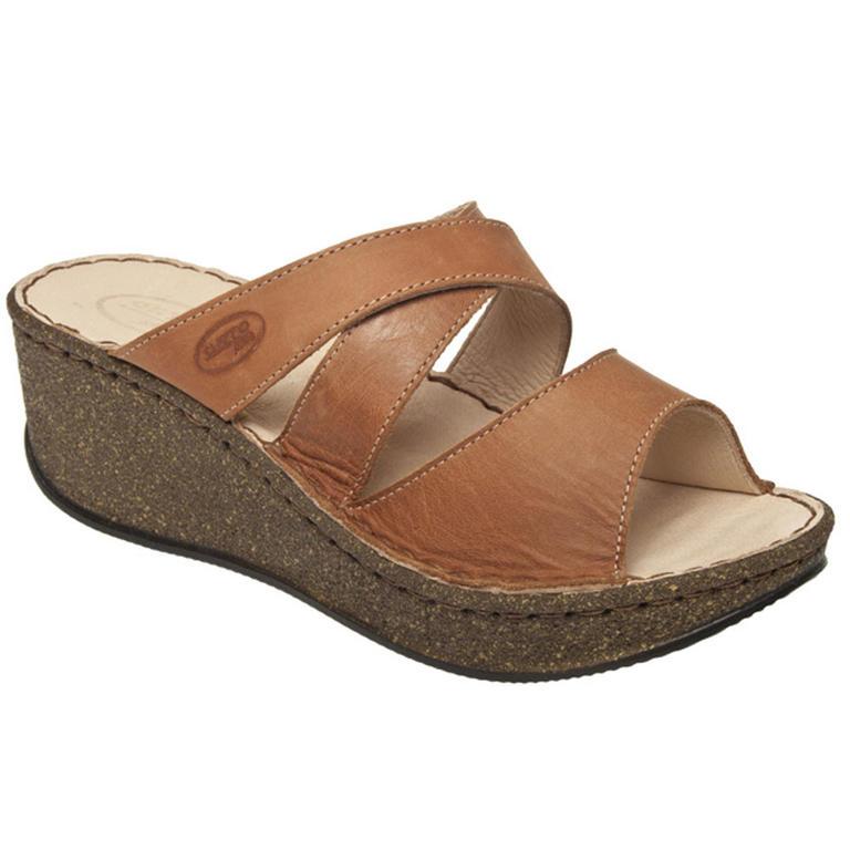Dámské pantofle na klínku hnědé vel. 38