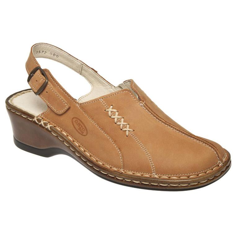 Dámské sandály na klínku s patním páskem světle hnědé