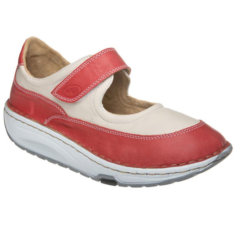 Dámská obuv s oblou podrážkou červeno-béžová vel. 41
