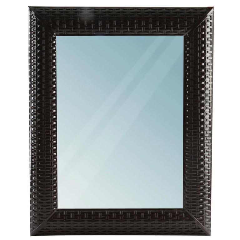 Obdélníkové zrcadlo RATAN hnědé