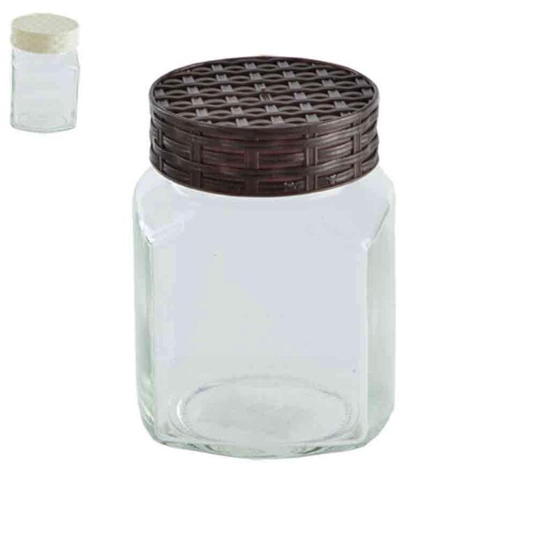 Skleněná dóza s víčkem RATAN hranatá 720 ml
