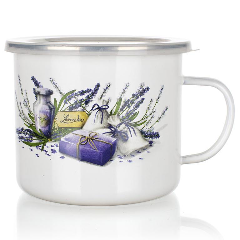Smaltovaný hrnek s víčkem Lavender, BANQUET 0,9 l