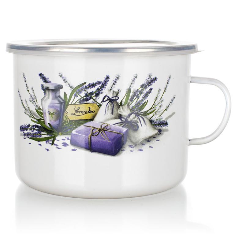Smaltovaný hrnek s víčkem Lavender, BANQUET 2 l