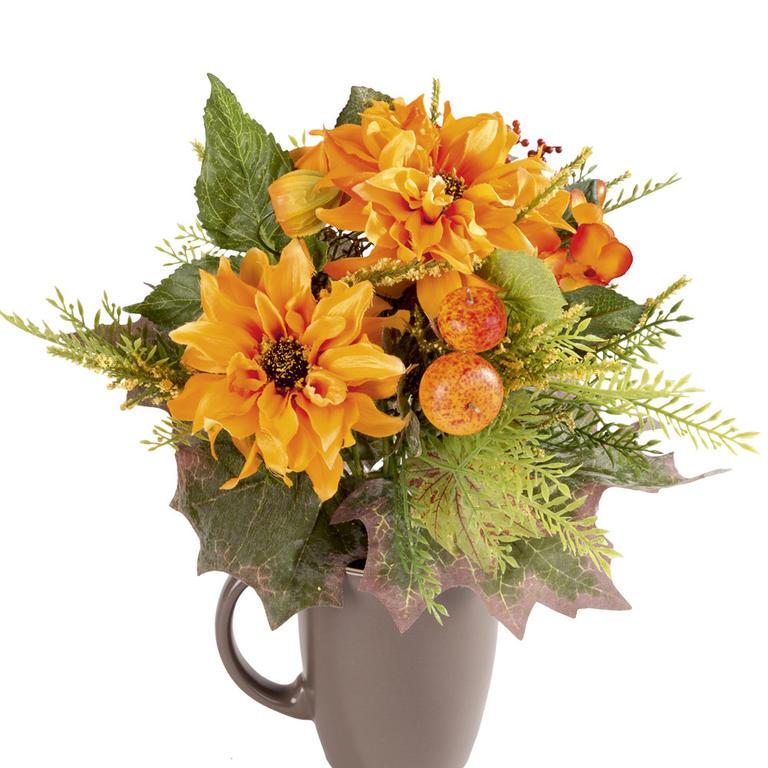 Umělá květina - Jiřiny a Physalis