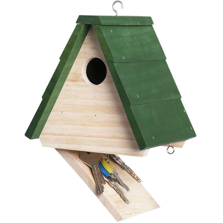 Dřevěné krmítko s úkrytem na klíče  - 1