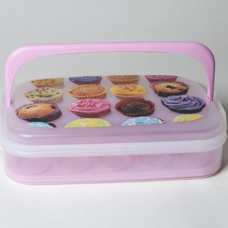Plastový box na pečivo a cukroví růžový  - 1