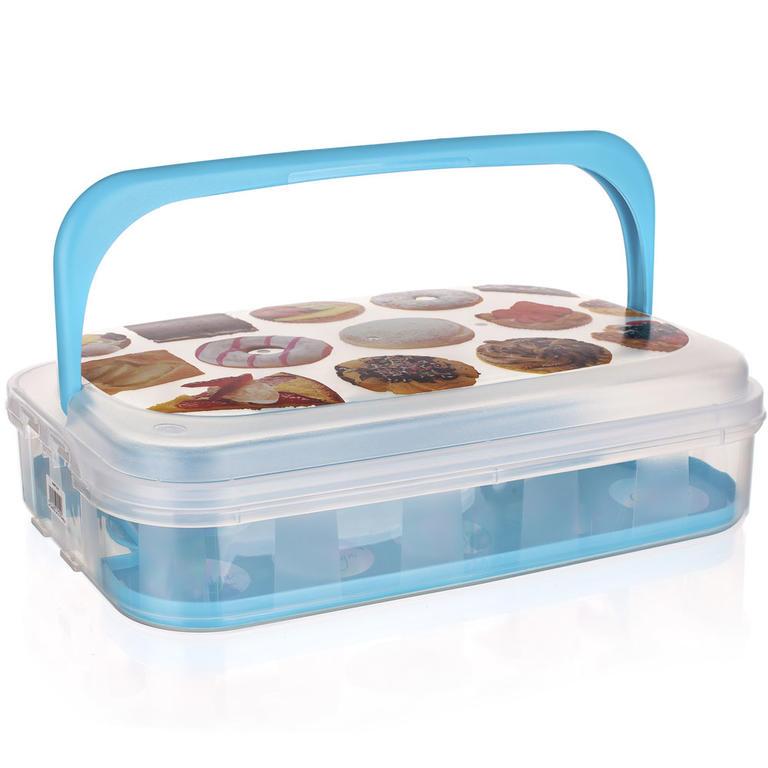 Plastový box na pečivo a cukroví modrý  - 1