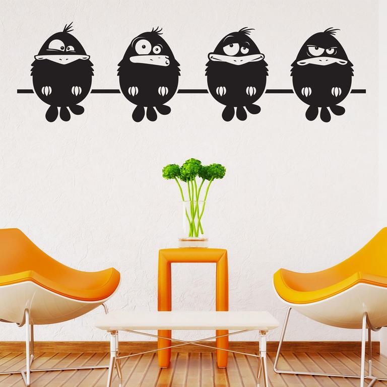 Samolepky na zeď - Ptáčkové na bidýlku černá