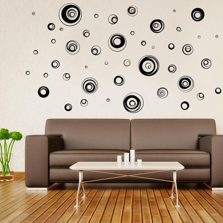 Samolepky na zeď - Abstraktní kruhy černé