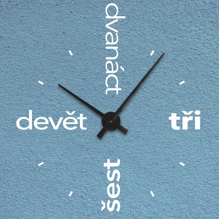 Nalepovací nástěnné hodiny 16 bílá čísla, černý strojek velké - 72 x 69 cm