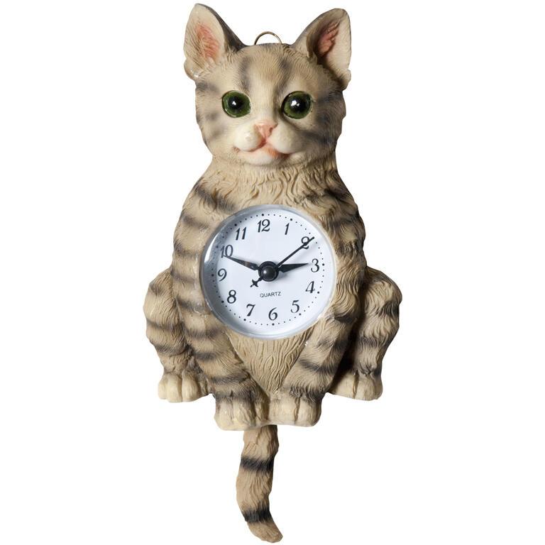 Keramické nástěnné hodiny Kočka