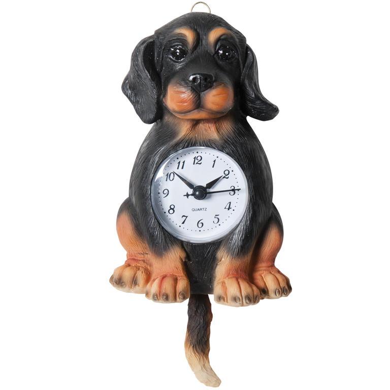 Keramické nástěnné hodiny Pes