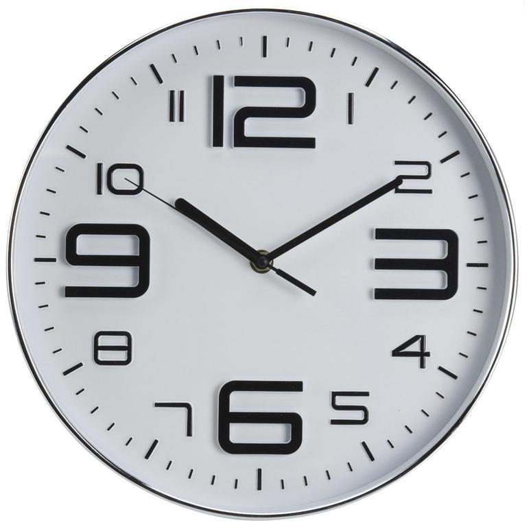 Nástěnné hodiny se stříbrnými číslicemi bílé