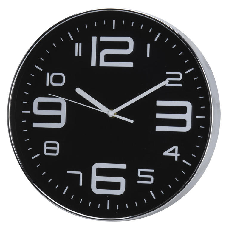 Nástěnné hodiny se stříbrnými číslicemi černé