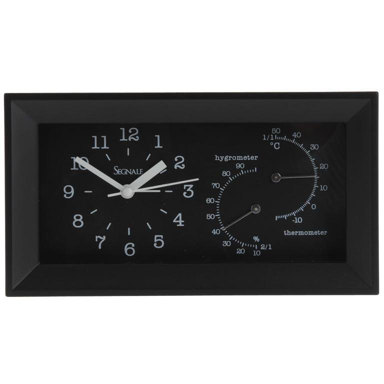 Stolní hodiny s vlhkoměrem a teploměrem černé - decoDoma bd0d3d7204