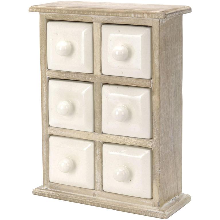 Dřevěná skříňka se 6 keramickými zásuvkami  - 1