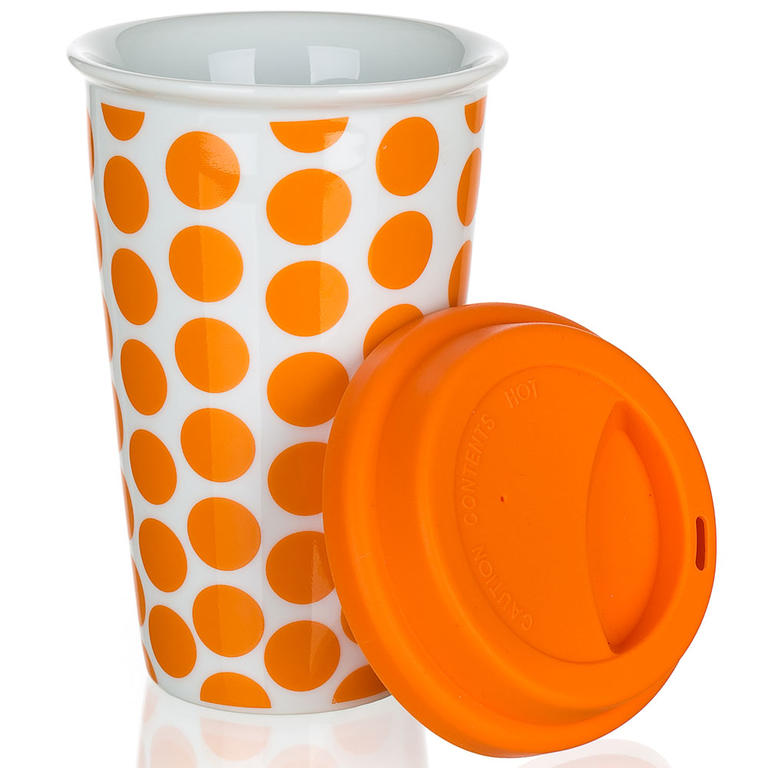 Dvoustěnný hrnek se silikonovým víčkem COLOR PLUS oranžový, BANQUET  - 1