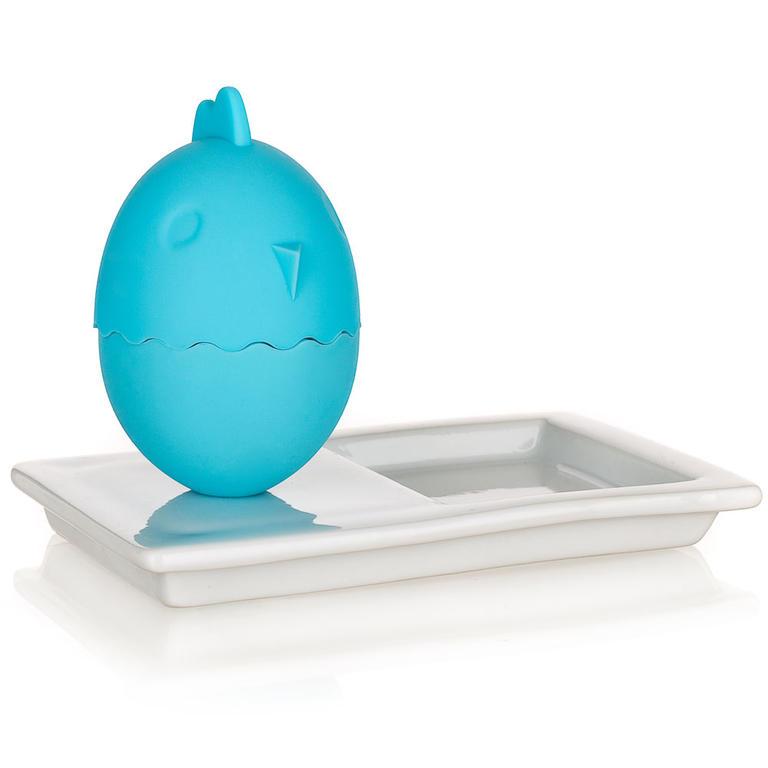 Silikonový kalíšek na vajíčka s talířkem COLOR PLUS BLUE modrý, BANQUET
