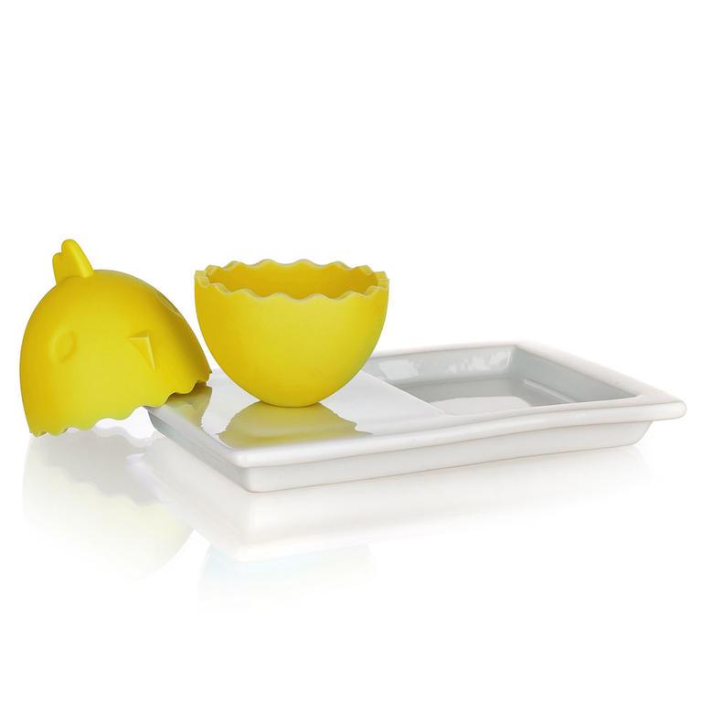Silikonový kalíšek na vajíčka s talířkem COLOR PLUS BLUE žlutý, BANQUET