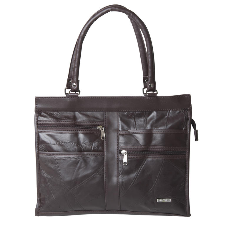 Elegantní kožená kabelka hnědá  - 1