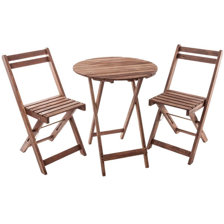 Dřevěný balkonový set s kulatým stolem Acacia HAPPY GREEN