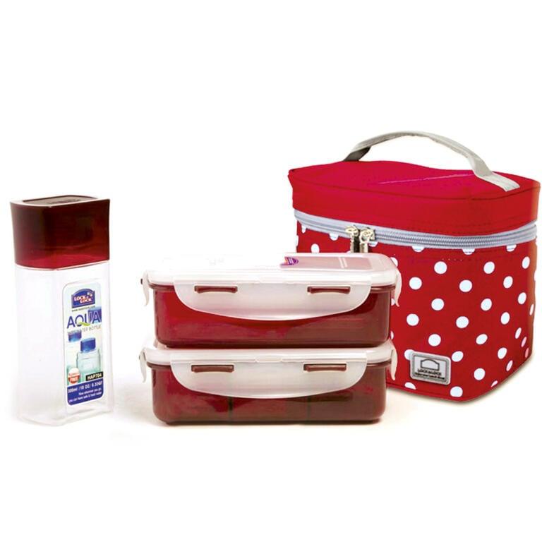 Tečkovaná taška Lunch Boxes červená