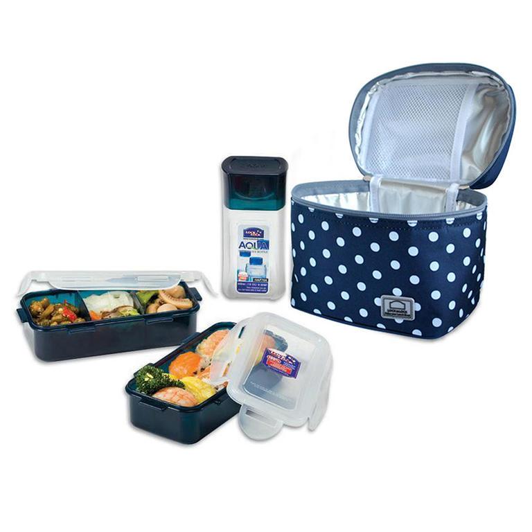 Tečkovaná taška Lunch Boxes modrá  - 1