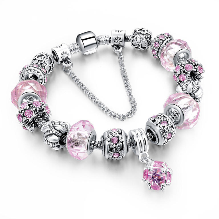 Náramek s krystaly a korálky růžový