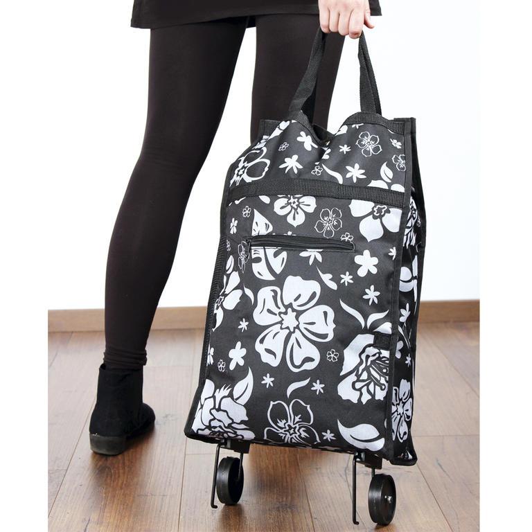 Nákupní taška na kolečkách Kytky