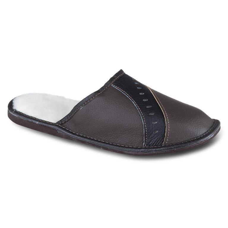 Pánská domácí obuv kožená tmavě hnědá vel. 46