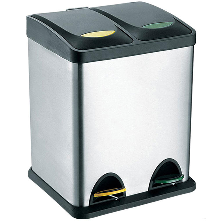 TORO Nerezový koš na tříděný odpad 2x8 l