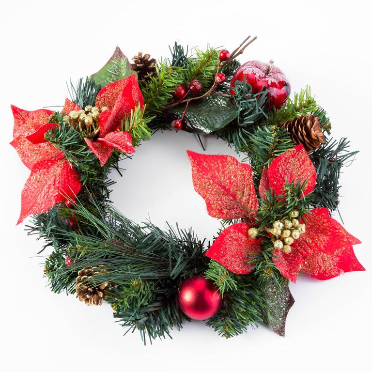 Livo Umělý vánoční věnec POINSETTIE 30 cm