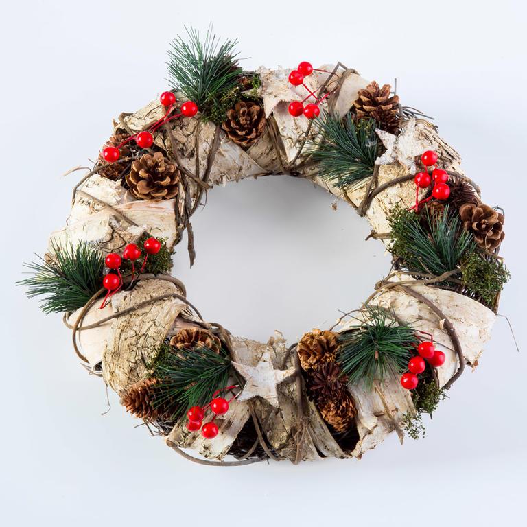 Livo Vánoční věnec s březovou kůrou přírodní 32 cm