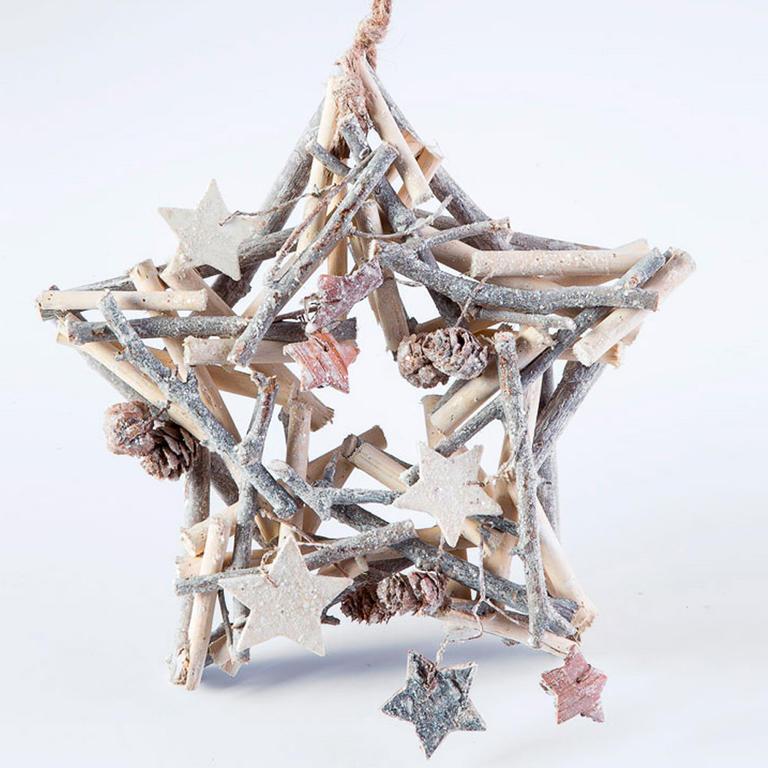 Livo Vánoční dřevěná dekorace hvězda 24 cm