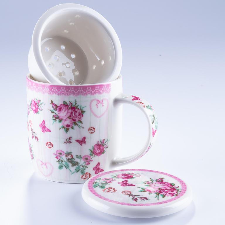 Home Elements Porcelánový hrnek 400 ml se sítkem a víčkem - růže
