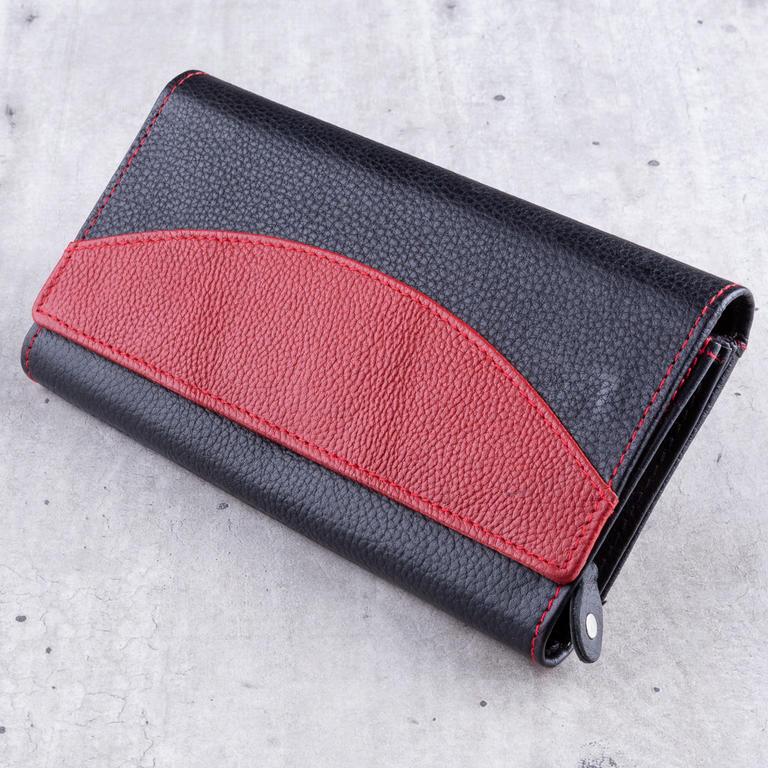 1ab2e39b014 Dámská kožená peněženka černo-červená - decoDoma